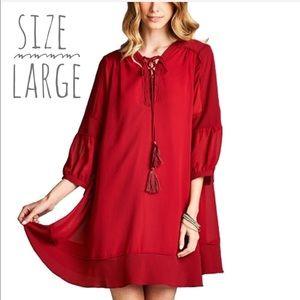 Burgundy Lace-Up Boho Babydoll Dress Large
